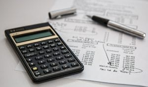 A calculator and financial figures